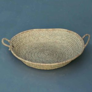 flat woven basket with two handles