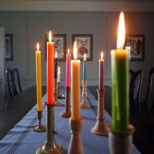 Wooden Candle Sticks True Grace Dinner Candle lit
