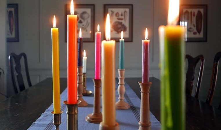 Wooden Candle Sticks hand turned craft True Grace dinner colourful candle sticks