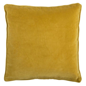 Yellow ochre velvet cushion