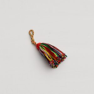 rainbow wool string keyring