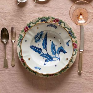 Italian design soup bowl with blue floral decoration festive tableware