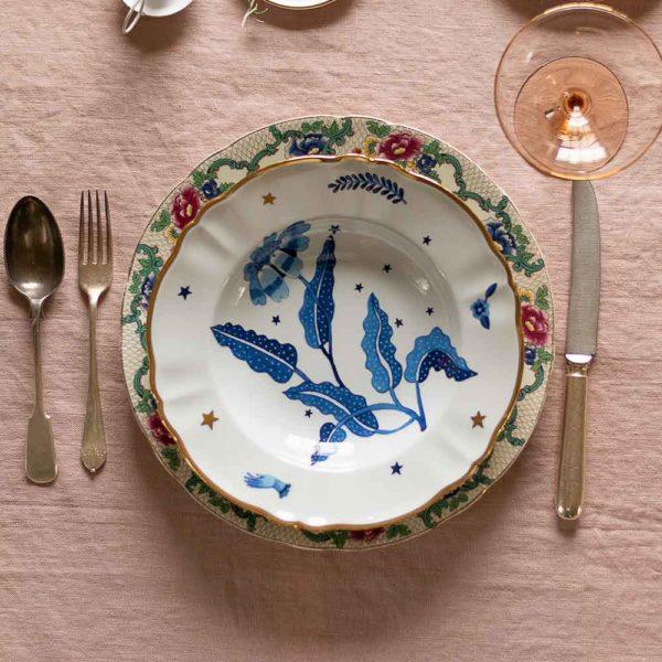 Bitossi decorative soup bowl with blue flower design