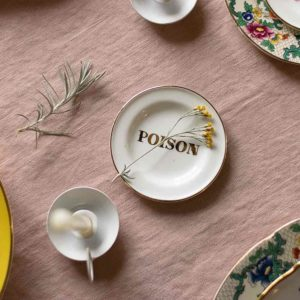 Tiny plate Poison in gold lettering italian design