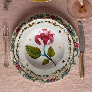 decorative soup bowl with flower italian design festive tableware