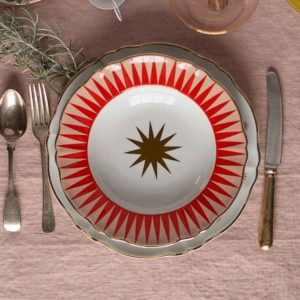 Italian design Gold and red star bowl decorative christmas