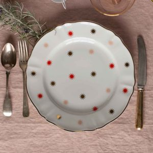 Italian design plate with gold and red stars festive tableware