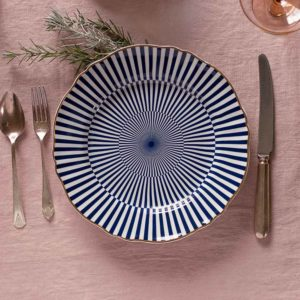 Italian design decorative festive plate with blue and white stripes