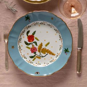 Italian design plate decorative flower design blue and gold rim festive tableware
