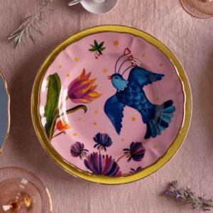 Italian design pink ceramic decorative plate