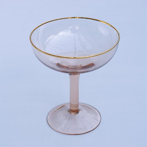 Pink champagne coupe glassware dining Pascale Store