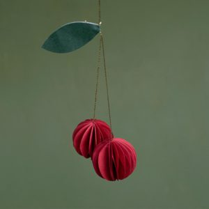 red cherries paper ornament