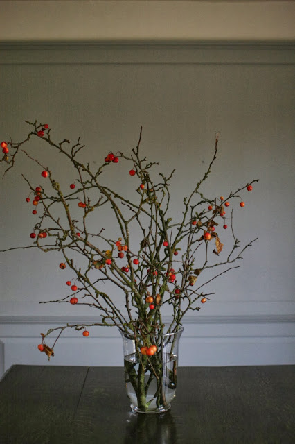 crab apple branches having lost their leaves after 3 weeks on table - pascale store seasonal design ideas