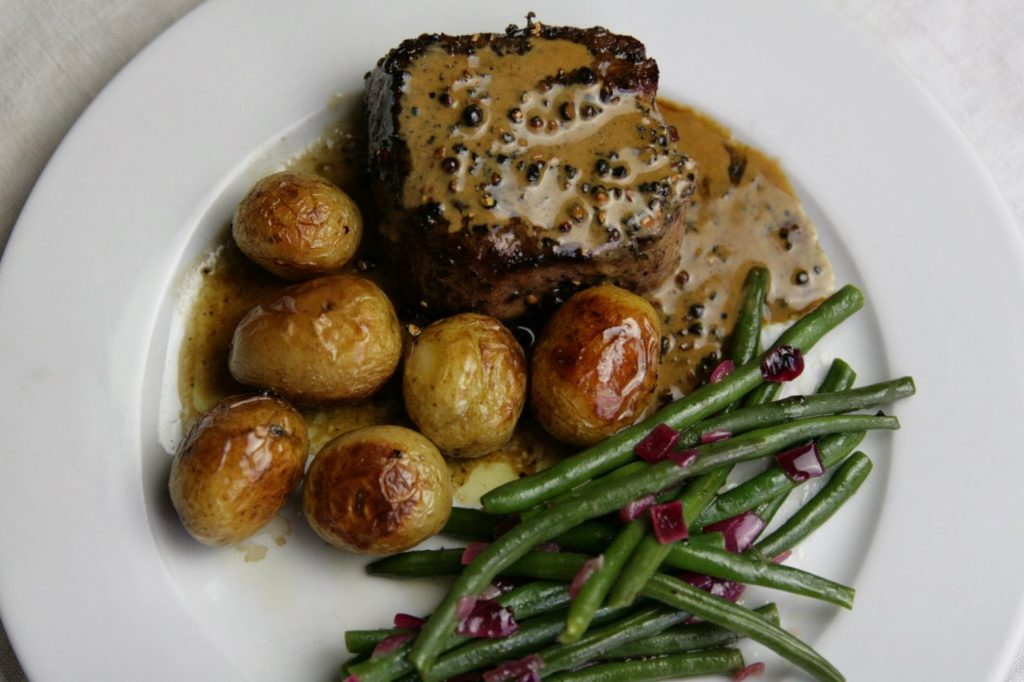 Steak au Poivre with lemony green beans and roasted baby new potatoes - Valentine's Day Dinner idea