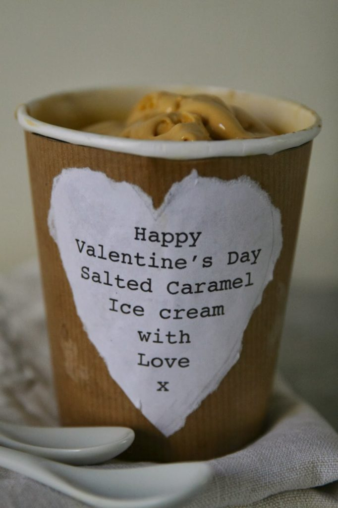 Salted caramel ice cream for 2 in a customised tub - Valentine's Day dinner idea