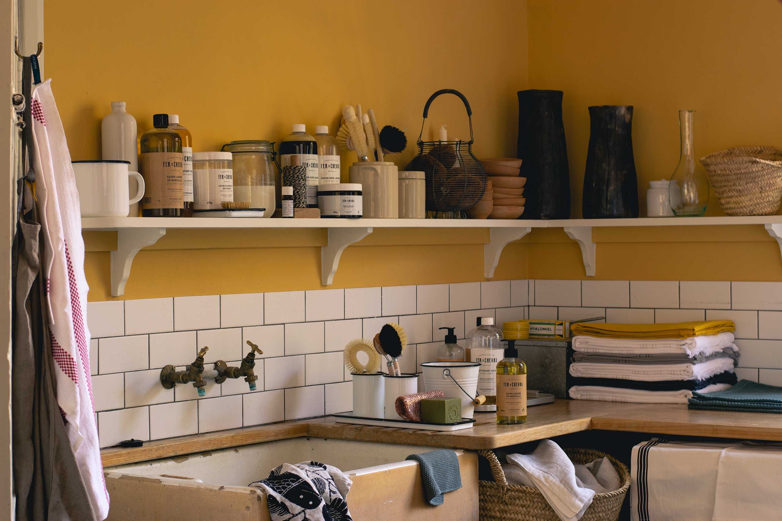 A kitchen showing homeware and soft furnishing from Pascale Store